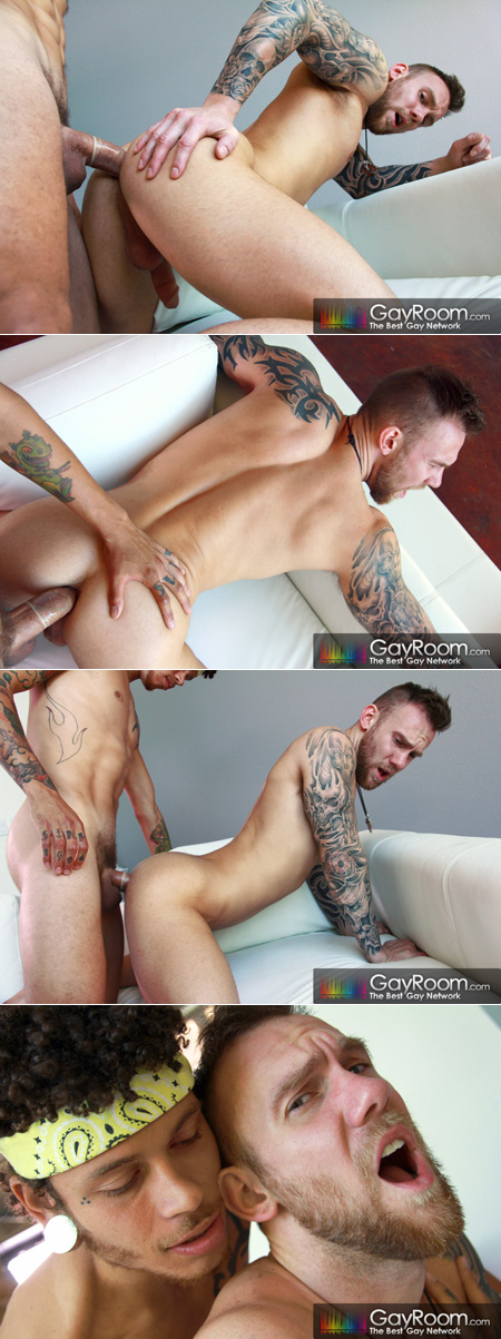 Young tattooed muscle stud taking a huge cock in his ass.