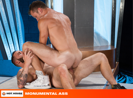 Fit young muscle men fuck naked in the cowboy position.