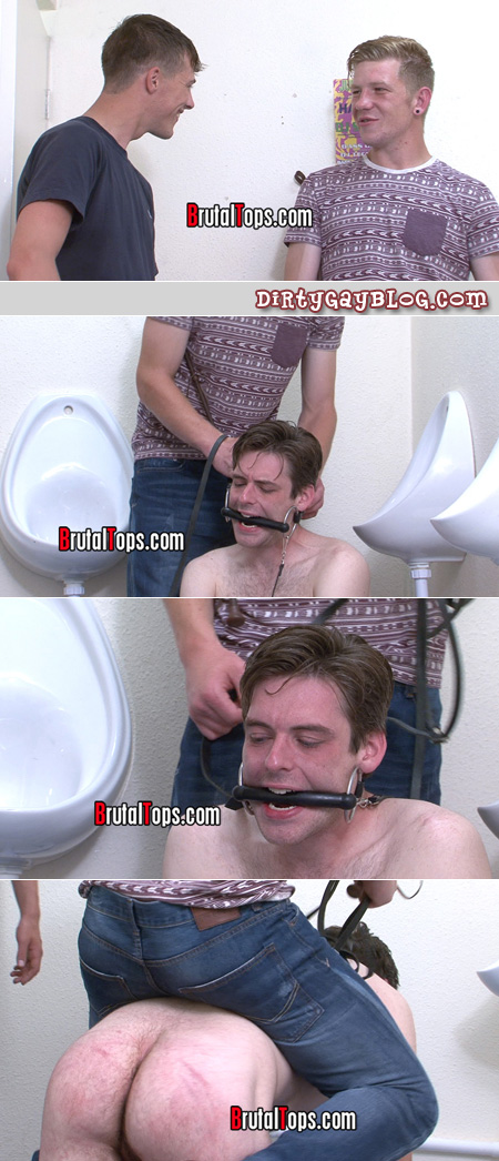 Brutal tops making a gay submissive take a bit gag in his mouth.