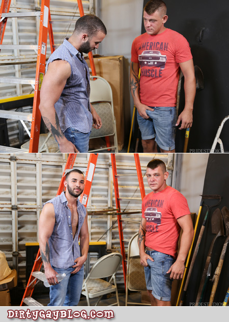 Gay handyman grabbing his dick for a male customer.