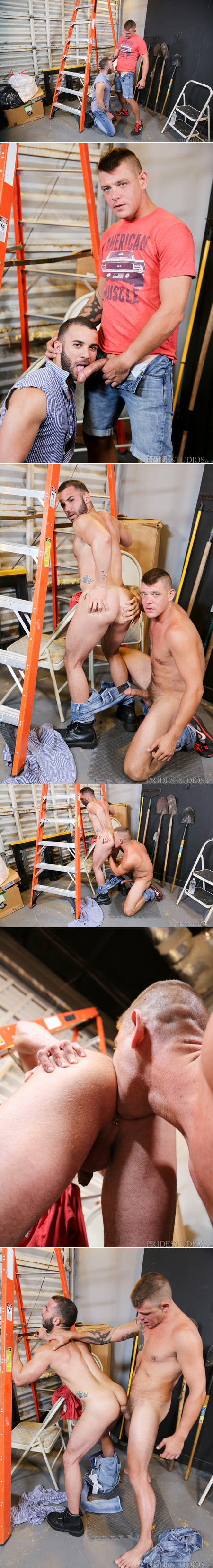 Blonde guy fucking his handyman on a ladder.