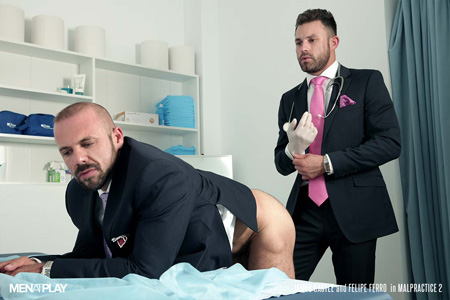 Hairy, muscular businessman about to get a rectal exam from his hunky male doctor.