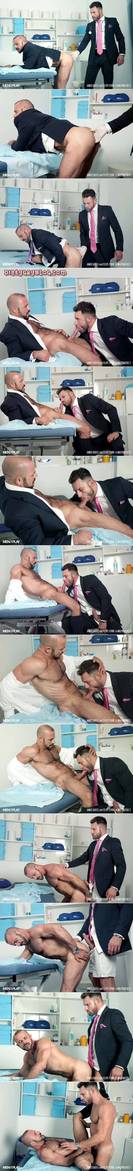 Hairy, muscular man in a suit is seduced by his hunky male proctologist.