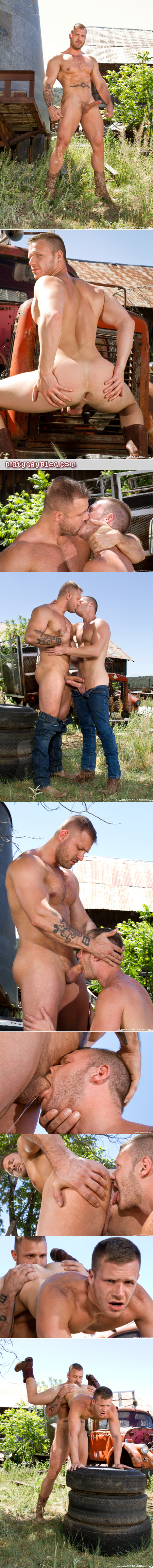 Two shirtless cowboys having gay sex outside.