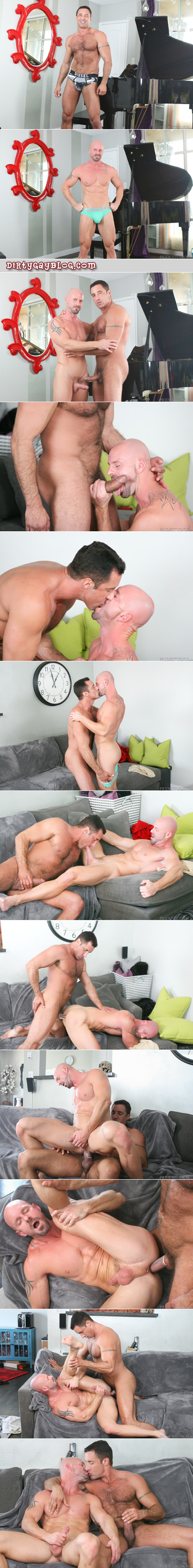 Muscle Daddies fucking and jacking off on the couch together.
