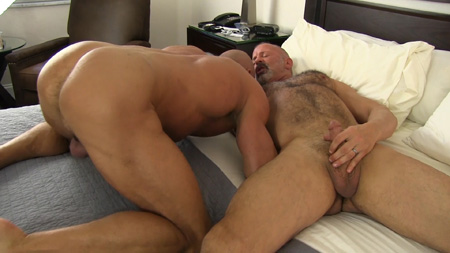 Muscle Daddies naked, one silverback hairy and one smooth.
