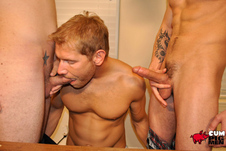 Scruffy ginger blonde guy sucking dicks.