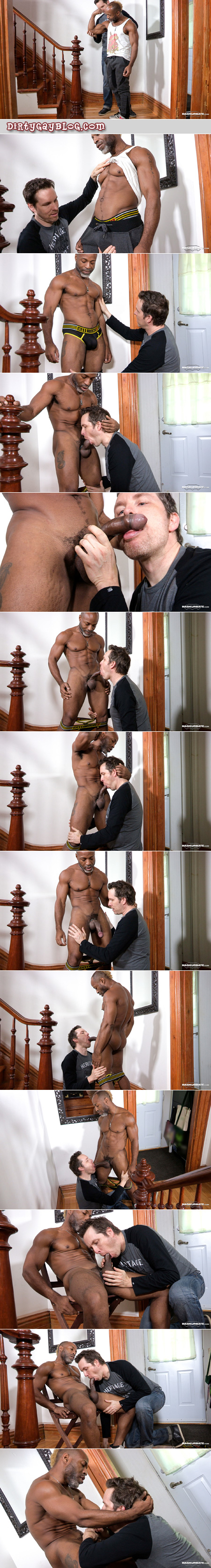 Hung black muscle Daddy getting his huge uncut cock sucked by another man.