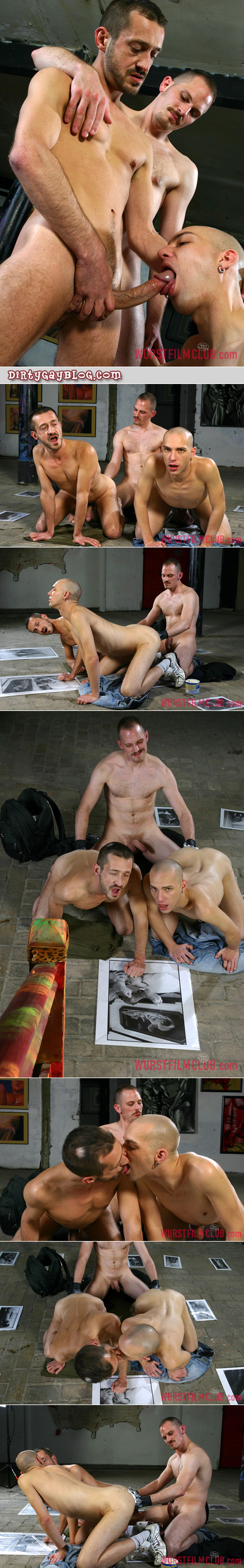 Two German men being anally fisted by another man with a mustache at the same time.
