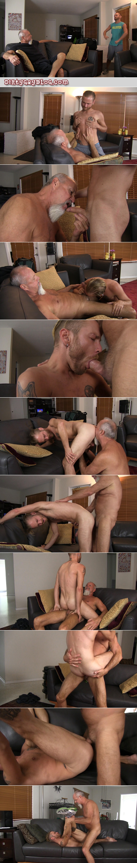 Granddaddy fucking a young guy bareback after he gets horny watching Daddies at the gym.