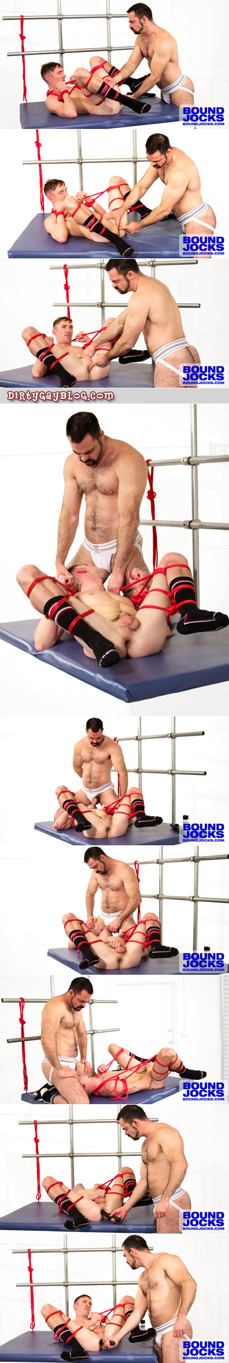 Muscle bear jock sock twink bondage with sex toys.