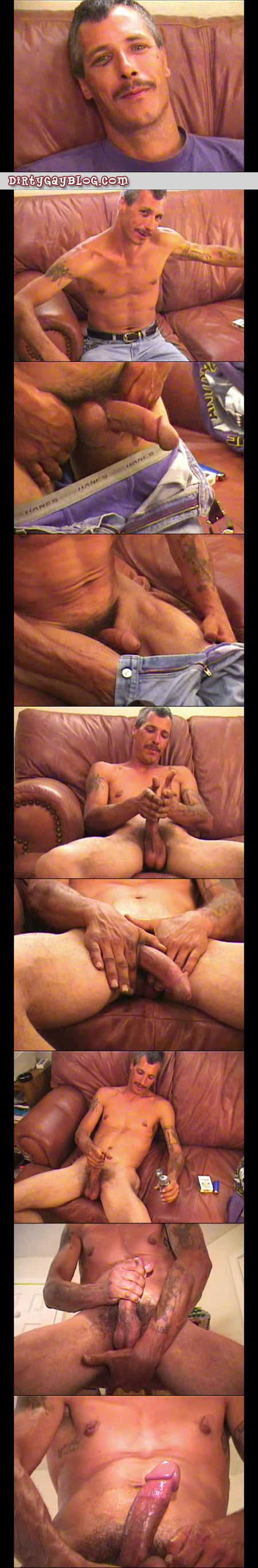 Arrogant straight man with a mustache jacking off on the couch.