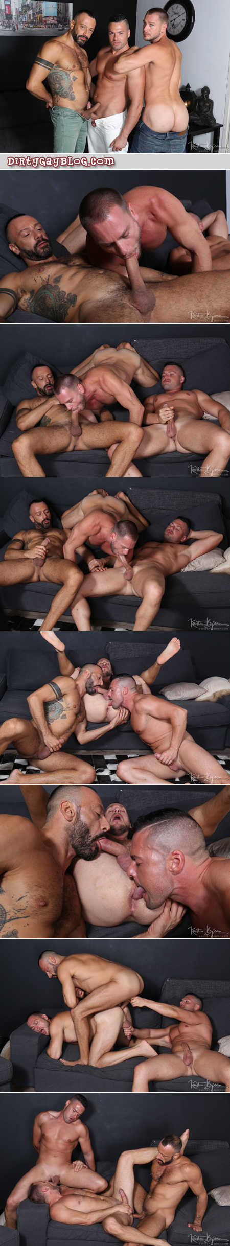 European muscle Daddies having casual gay group sex with one bottom.