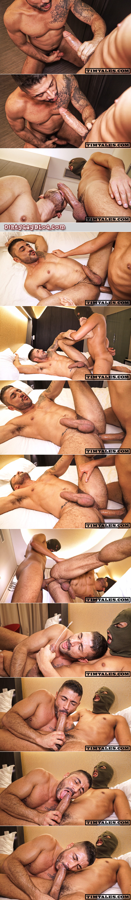 Spanish muscle hunk taking an enormous uncut cock in his ass bareback.