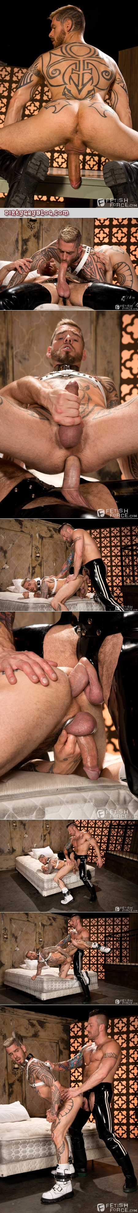 Leather and latex muscle fetish gay sex.