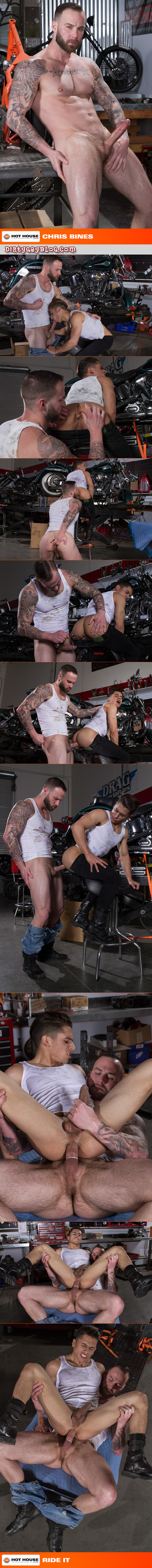 Hairy mechanic fucking a Latino muscle bottom with his big dick.