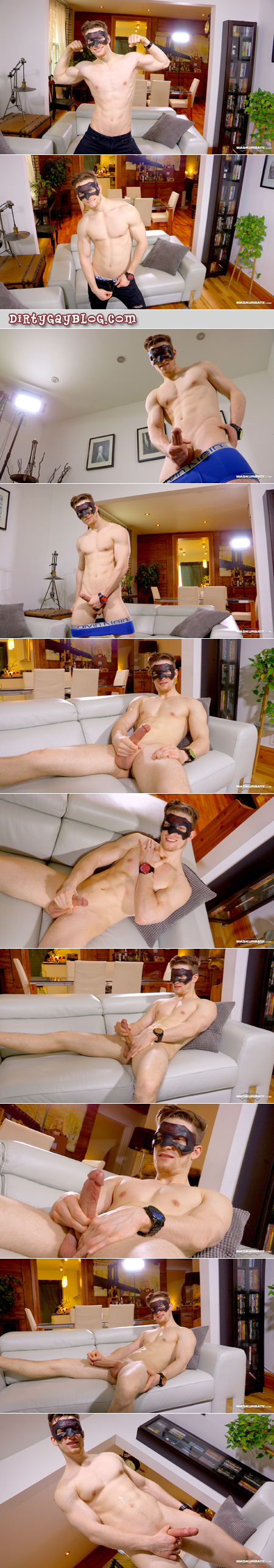 Smooth muscle stud in a mask stripping out of his underwear and jacking his long dick onto his abs.