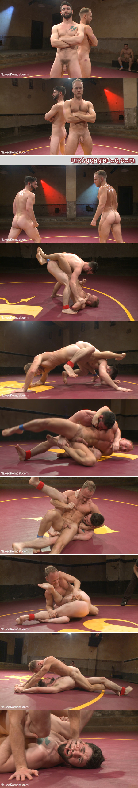 Naked men wrestling to see who will be top.
