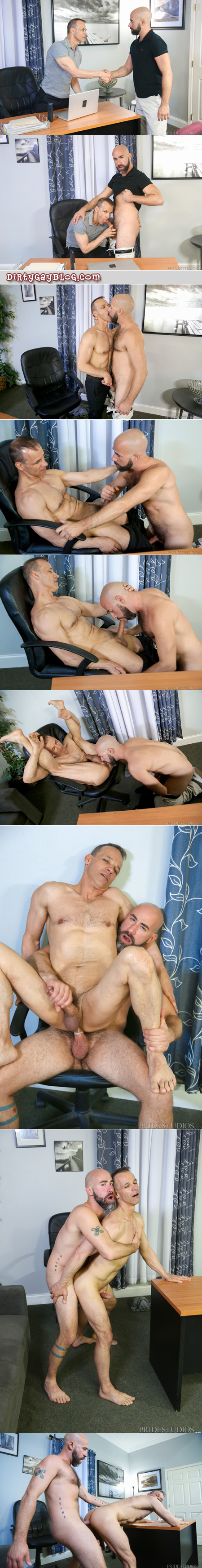 Horny Daddy keeps his job by having gay sex with his boss.