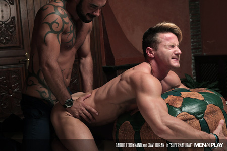 Blonde muscle stud grimacing while he gets fucked by a hung Spanish hunk
