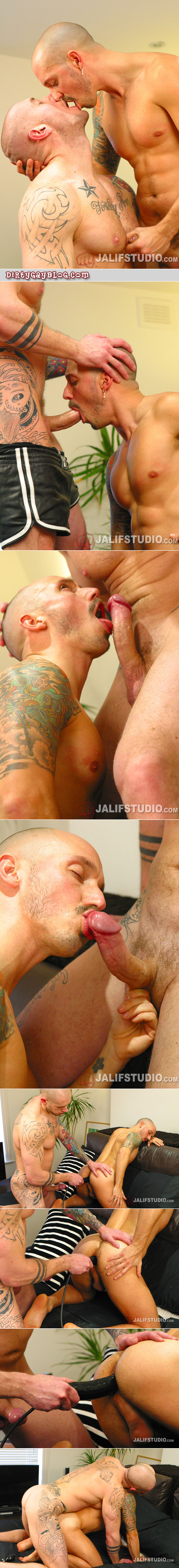 Tattooed hunk stretches out a muscle stud hole with a dildo before double-fucking him.
