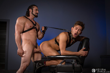 Greek dom top leash-fucking a twink in leather and rubber.