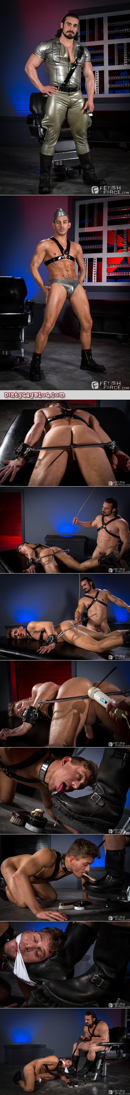 Greek muscle god dominates a young leather and rubber twink with sex toys and caning before fucking him.
