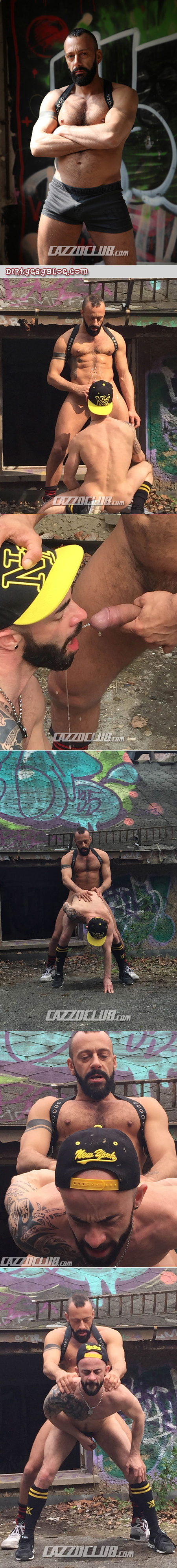 Spanish muscle bear pissing on a bearded hunk and fucking him in the ass.