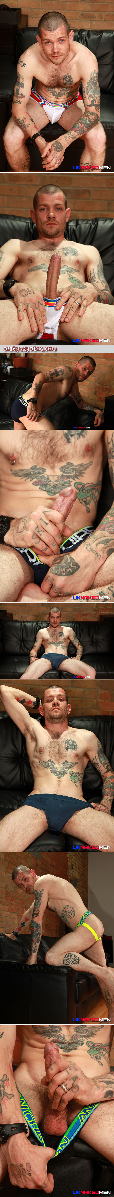 Married straight guy with a big hard dick modeling underwear.