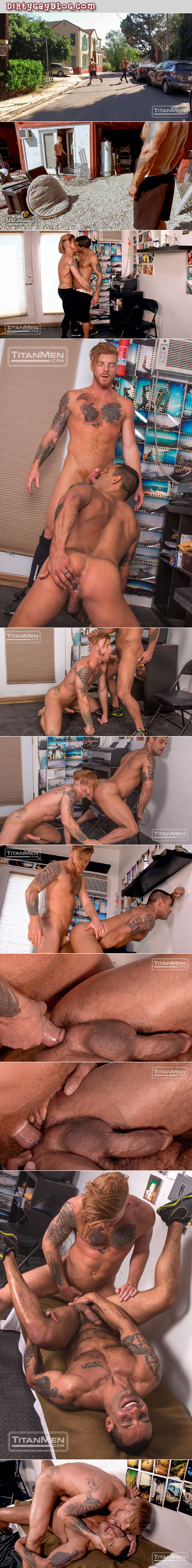 Muscular redhead fucking a hunky athlete he picked up during his run.