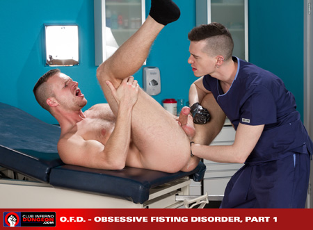 Blonde man being anal-fisted by a male nurse.