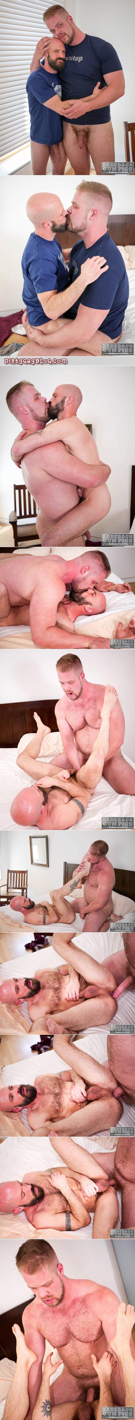 Big bear barebacking a bald, bearded, short, muscular Daddy.