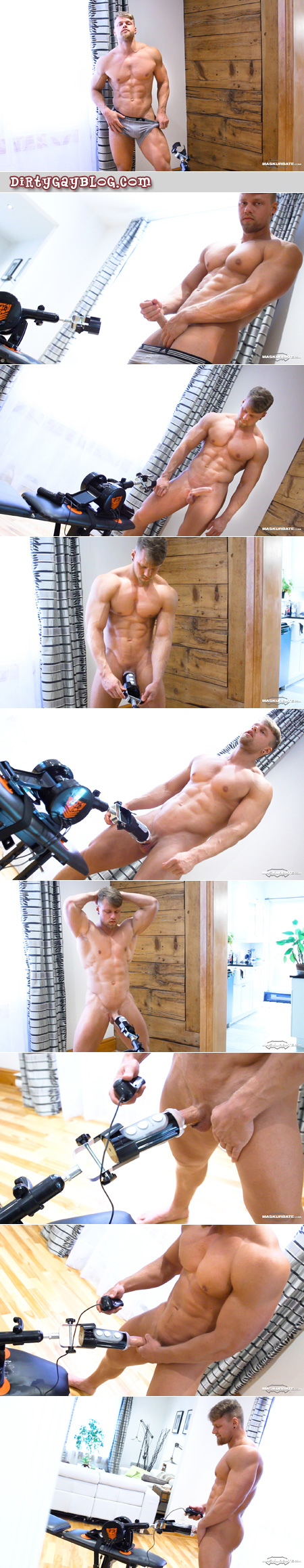 Smooth blonde bodybuilder getting his cock milked by a sex machine.