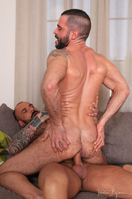 Muscular, hairy Latino stud taking a raw, uncut cock in his ass.