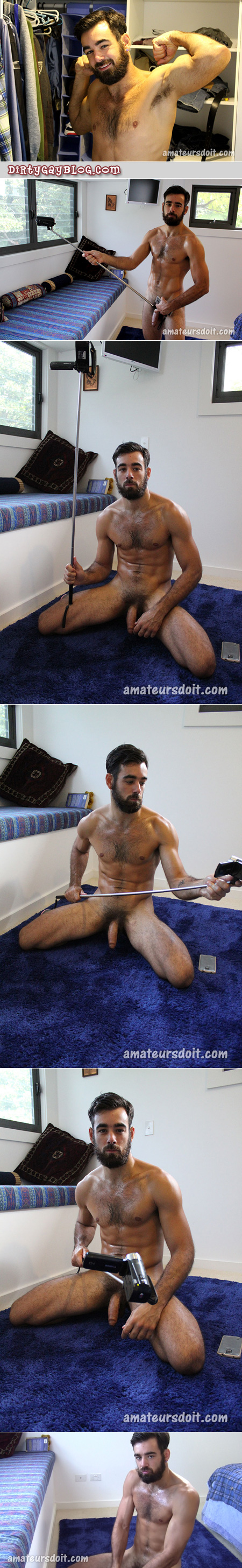 Hairy hunk setting up his self-stick to record himself masturbating.