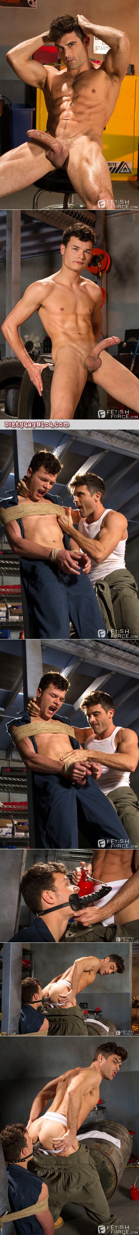 Gay bondage humiliations in the mechanic garage.