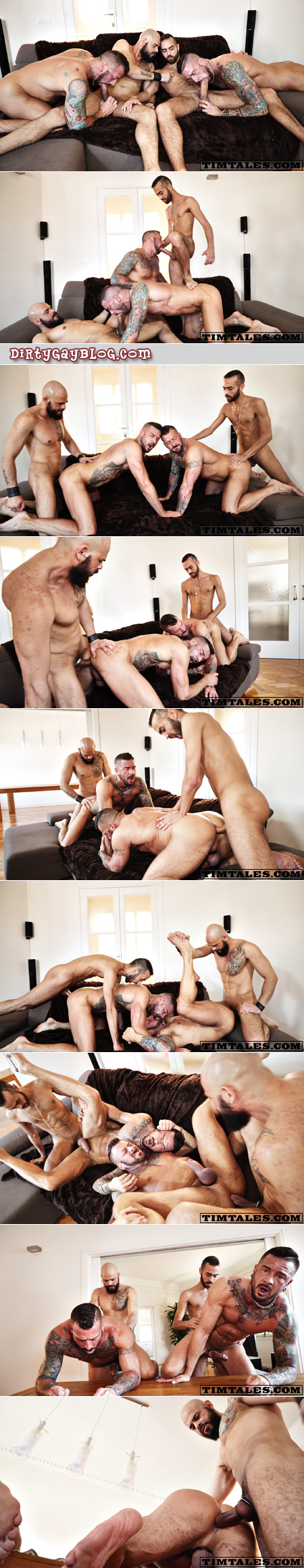 Two muscular, heavily tattooed men getting fucked bareback by two monster cocks.