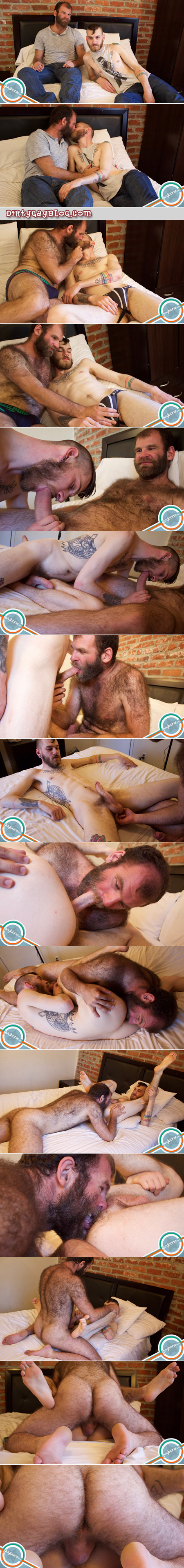 Extremely hairy cub fucking a tattooed and pierced man bareback.