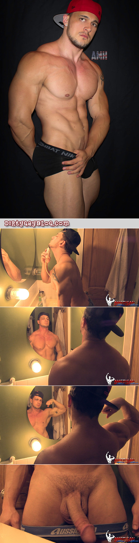 Muscular straight guy shaving and pulling out his big dick.