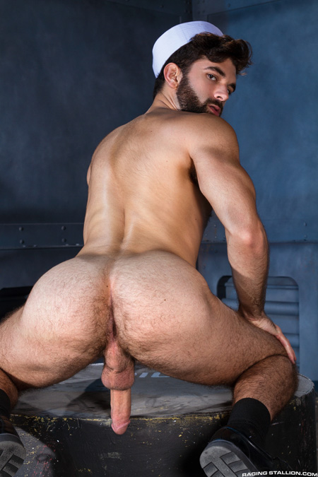 Muscular sailor nude showing off his hairy muscle butt.