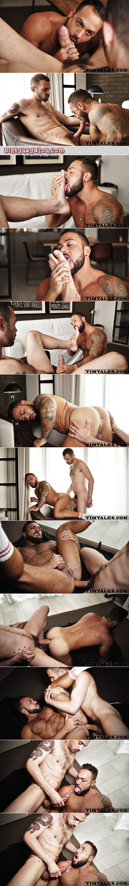 Muscle bear being fucked bareback by a tattooed guy with a monster cock.