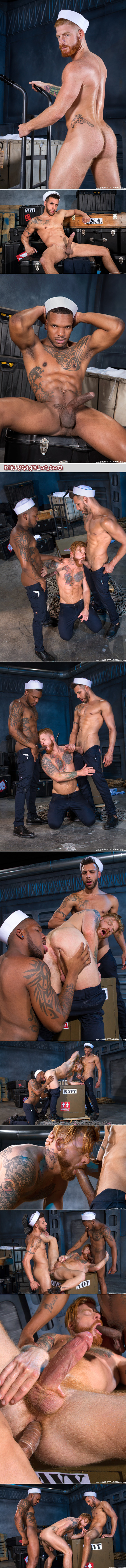 Two hung Latino sailors fucking a male redhead in his ass and mouth at the same time.