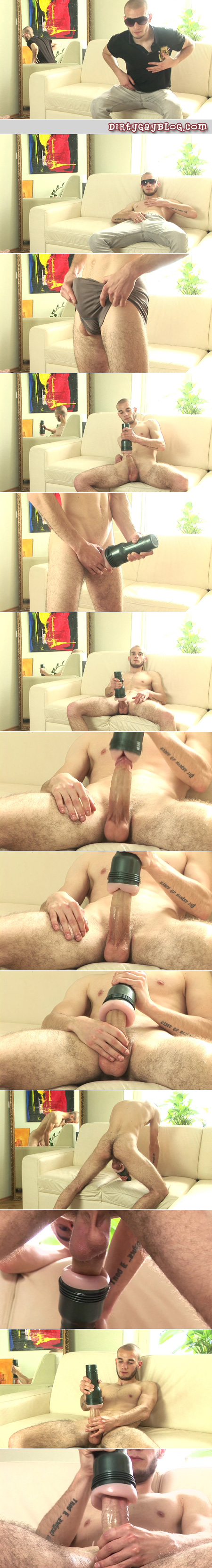 Hairy young fit guy masturbating his uncut cock with a Fleshlight.