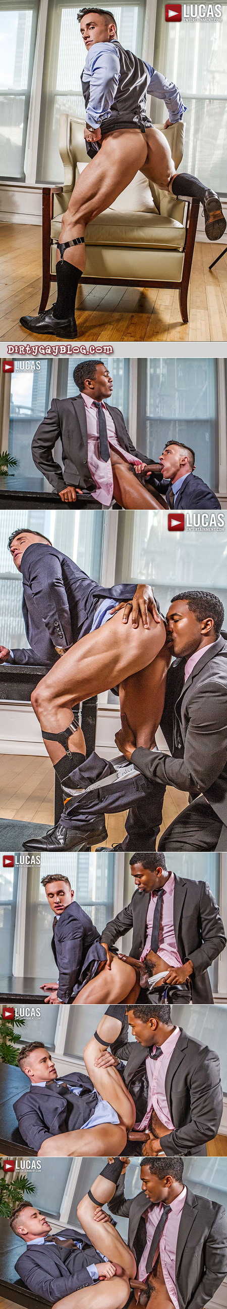 Russian muscle stud being fucked bareback by a co-worker in a suit with a monster big black cock.