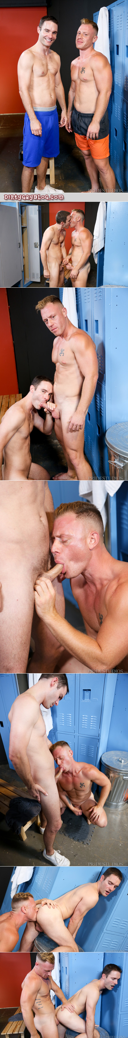 Muscle ginger fucking another man in the locker room.