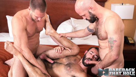 Hairy otter being spit-roasted by two older gay men.