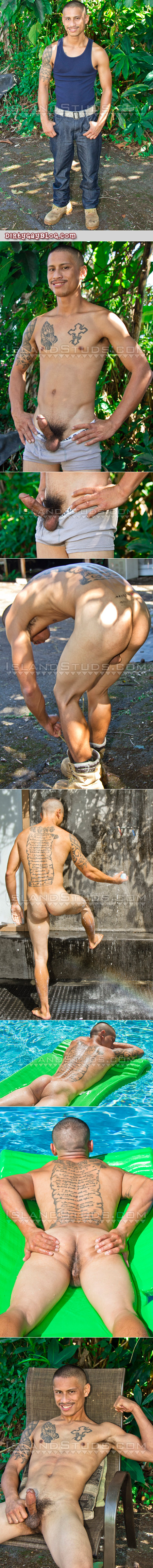 Fit Asian stud stripping naked outside and jacking off.