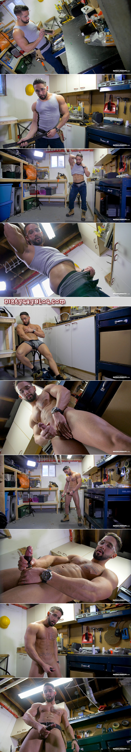 Muscular construction worker using a masturbation sleeve in his basement workshop.
