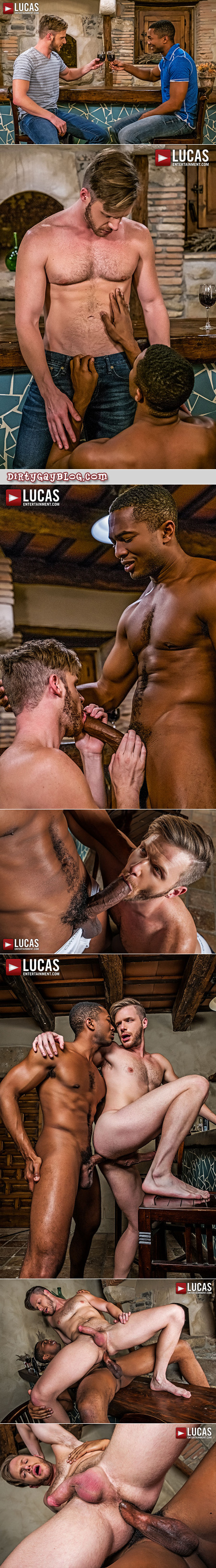 Hairy blonde hunk taking a huge black dick in his ass.