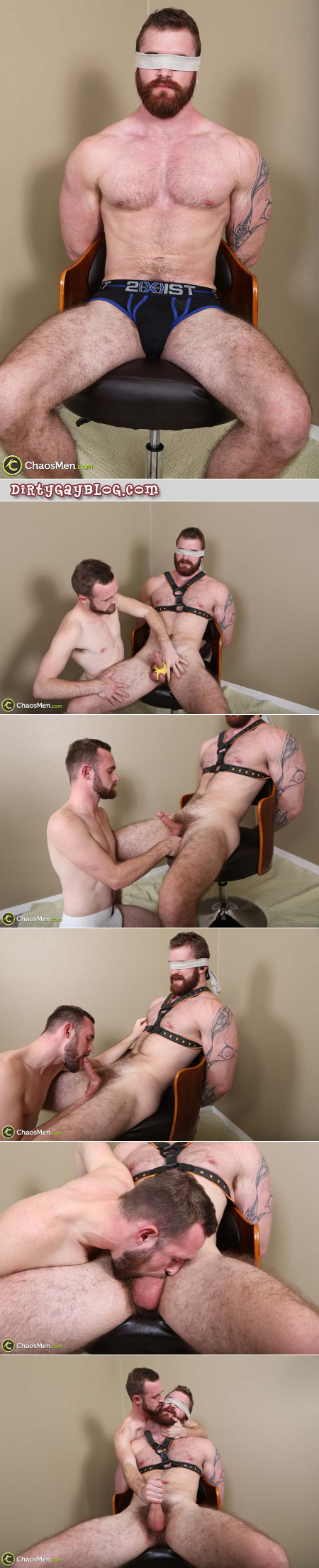Straight ginger muscle man being edged during sensory deprivation bondage.